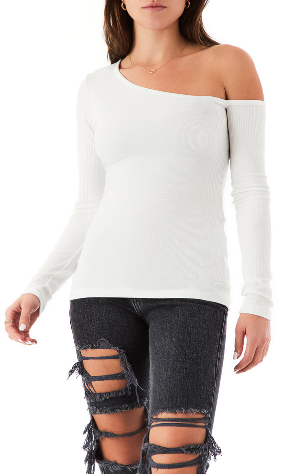 ONE SHOULDER LONG SLEEVE T-SHIRT