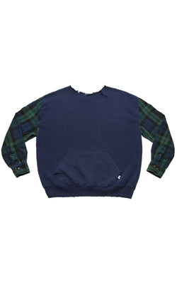 VINTAGE PULLOVER WITH FLANNEL SLEEVES