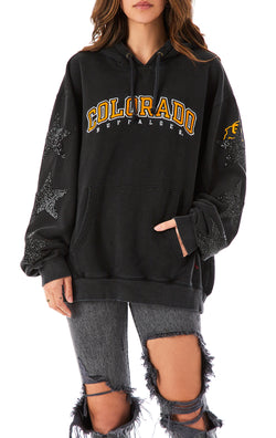 VINTAGE BLACK STAR PATCH HOODIE