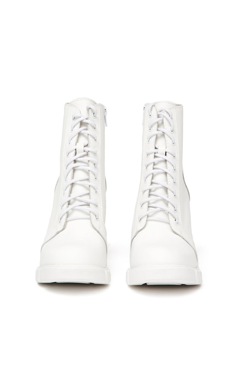JEFFREY CAMPBELL SOLAR LACE UP BOOTIE FRONT