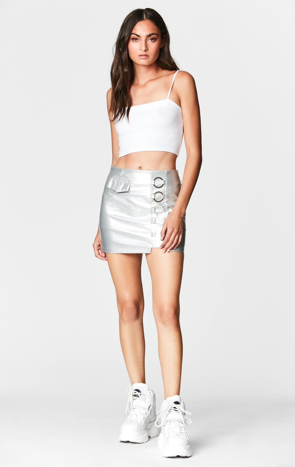 METALLIC O-RING FRONT SKIRT FRONT
