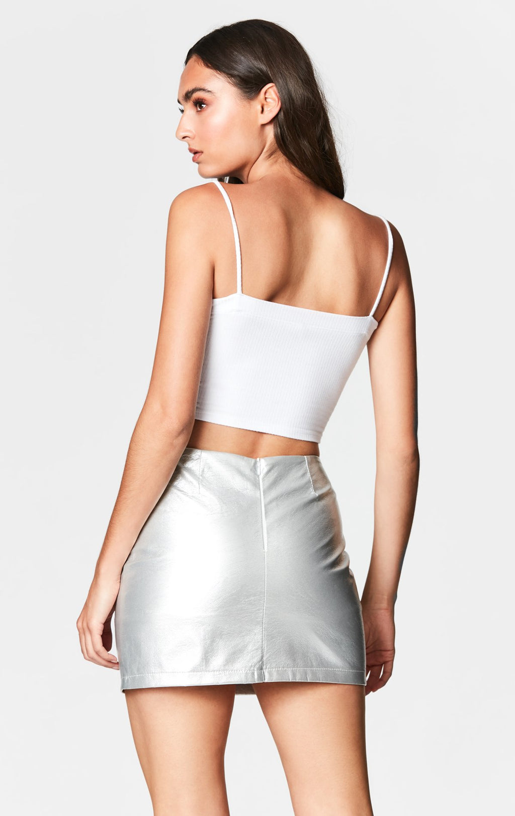 METALLIC O-RING FRONT SKIRT BACK