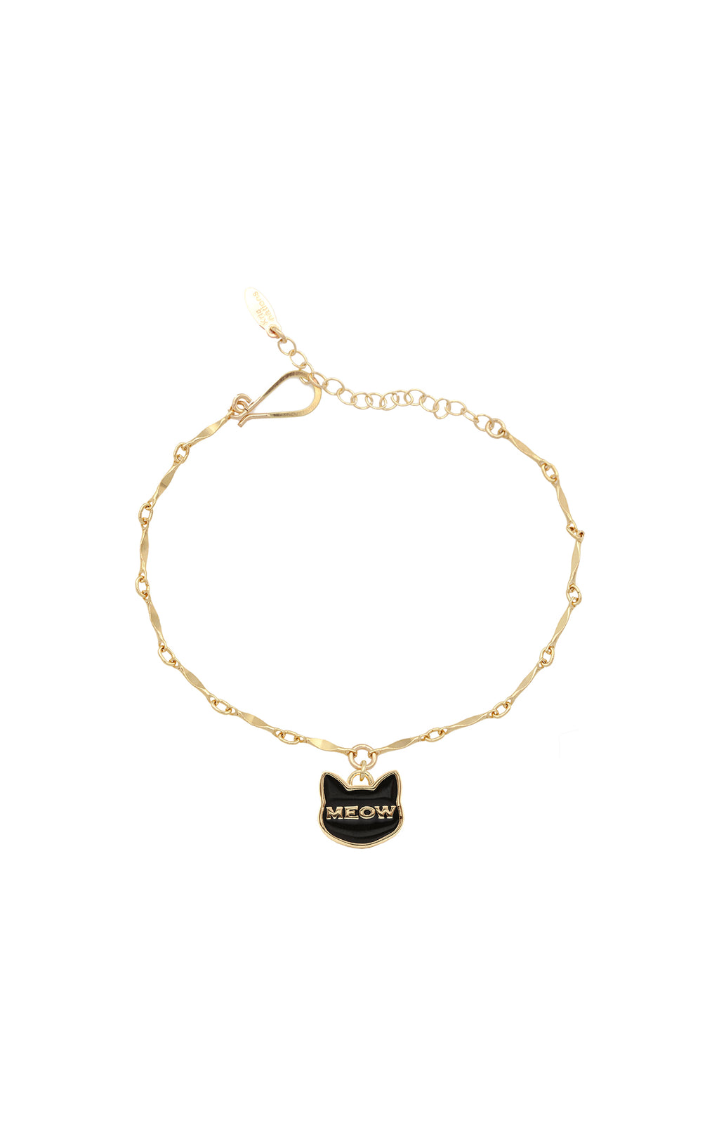 KRIS NATIONS 'MEOW' ENAMEL GOLD CHAIN BRACELET MAIN IMAGE