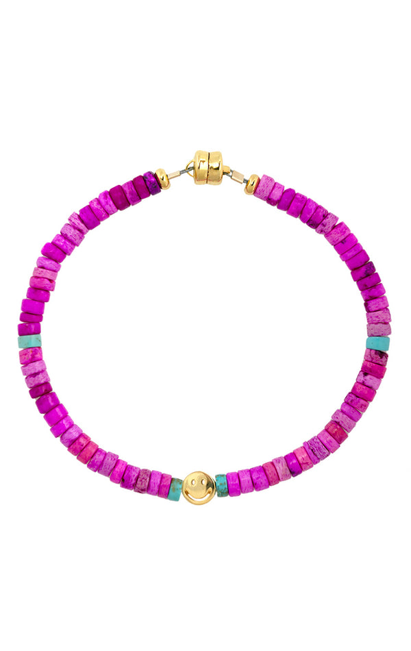FUCHSIA SHELL SMILEY BEADED BRACELET