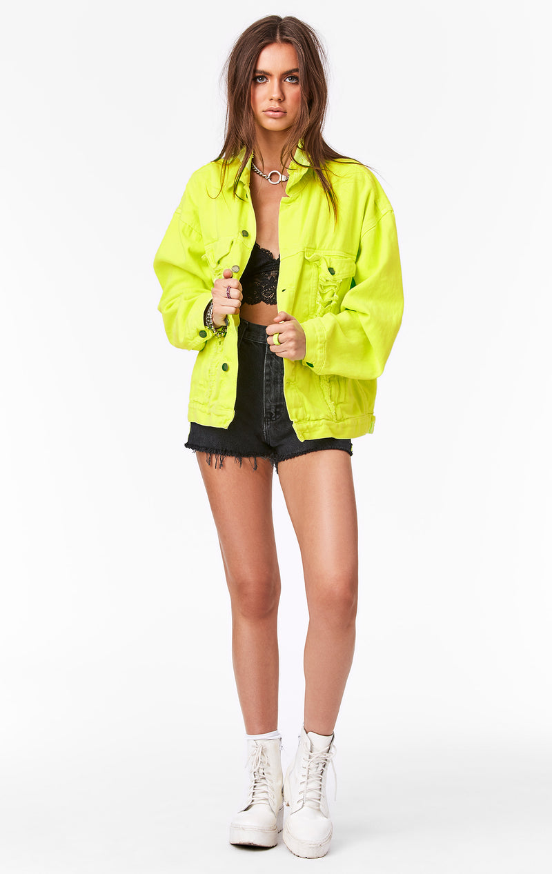 CARMAR DENIM NEON LIME AUDREY OVERSIZED DENIM JACKET FRONT