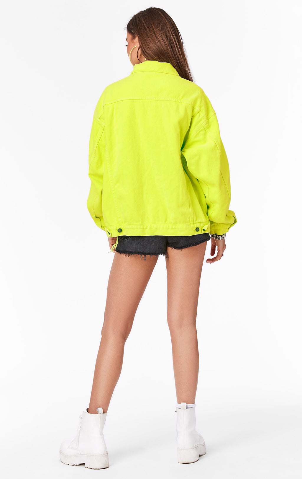 CARMAR DENIM NEON LIME AUDREY OVERSIZED DENIM JACKET BACK