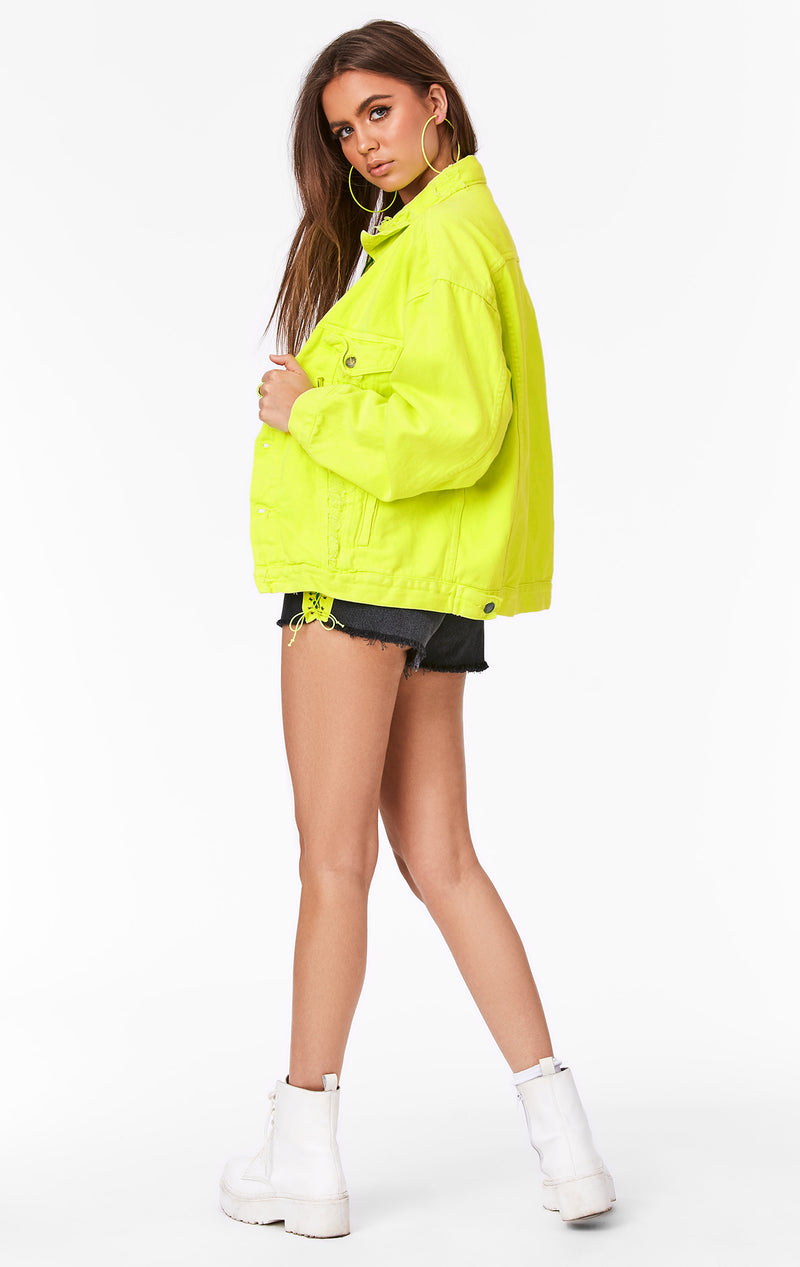 CARMAR DENIM NEON LIME AUDREY OVERSIZED DENIM JACKET SIDE