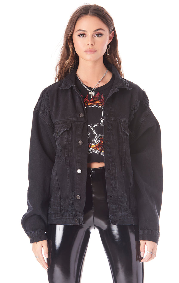 AUDREY DISTRESSED DENIM JACKET