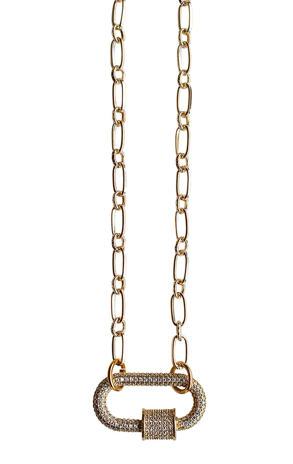 CANDYLOCK GOLD PLATED NECKLACE WITH CZ CARABINER