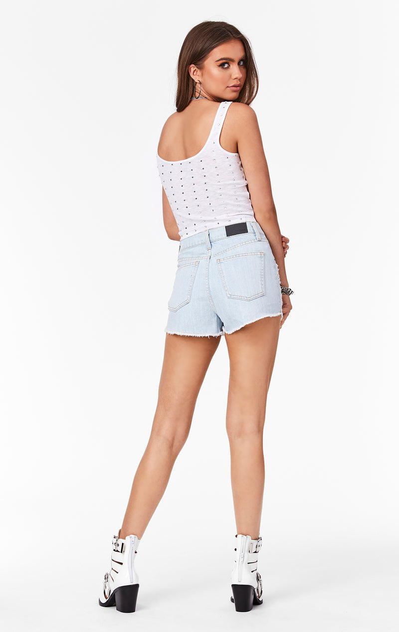 CARMAR DENIM RHINESTONE STAR TITANIA SHORT BACK