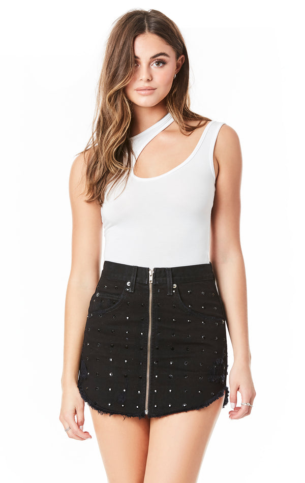 BEATRICE ALLOVER RHINESTONE ZIP FRONT SKIRT