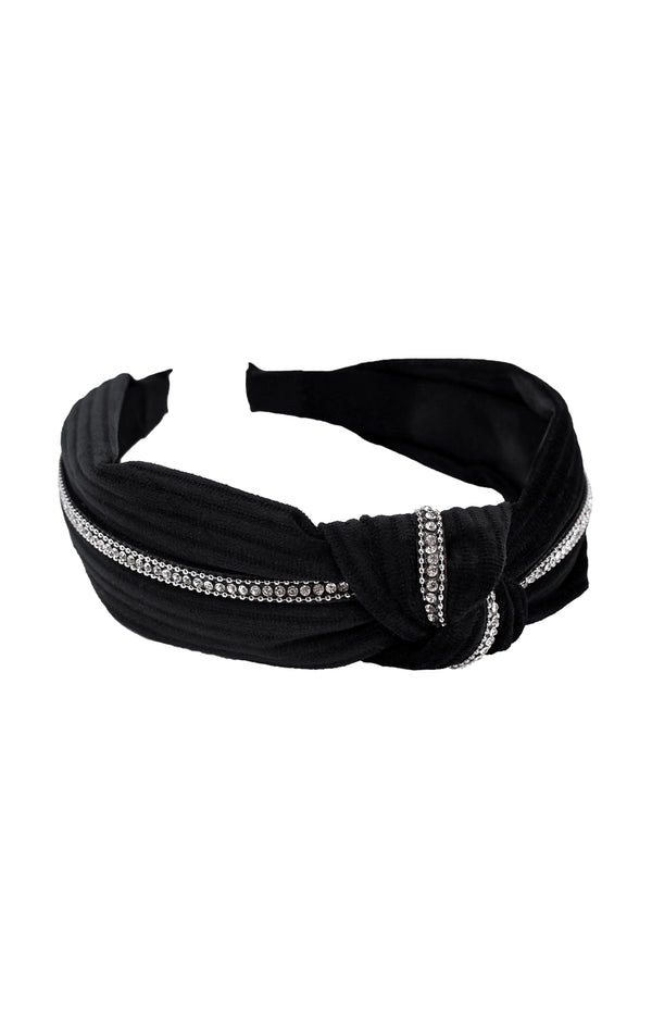 DALLAS RHINESTONE TRIM KNOTTED VELVET HEADBAND