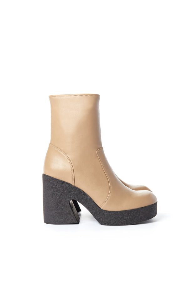 PLATFORM BOOTIE WITH PADDED RUBBER SOLE