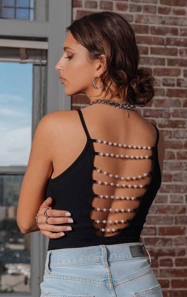 PEARL CHAIN LADDER BACK BODYSUIT