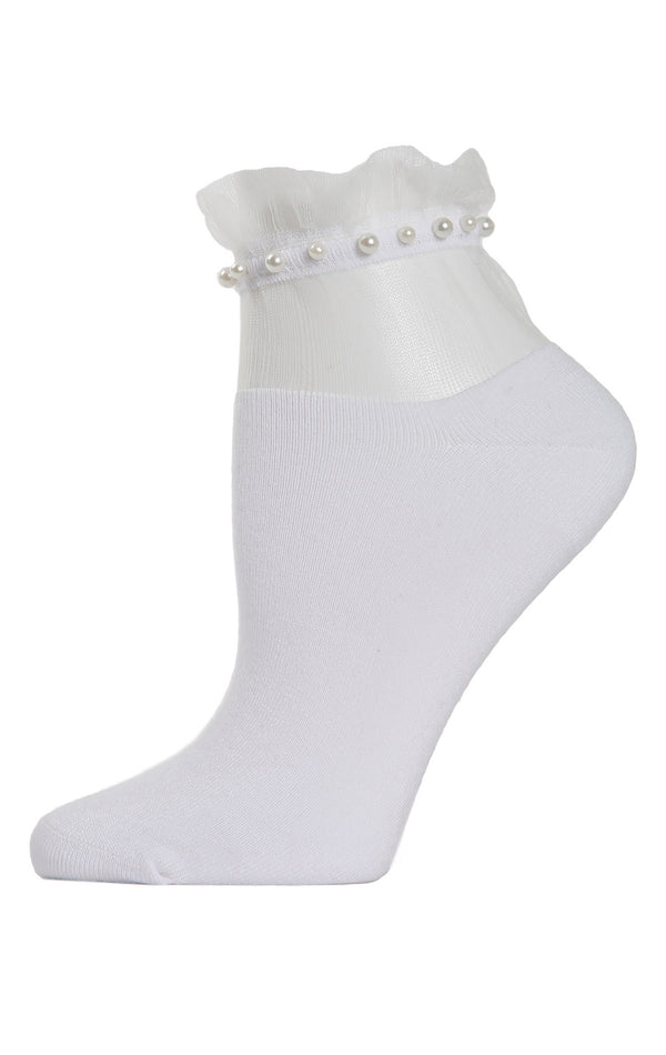 SHEER RUFFLE CUFF PEARL ANKLE SOCK