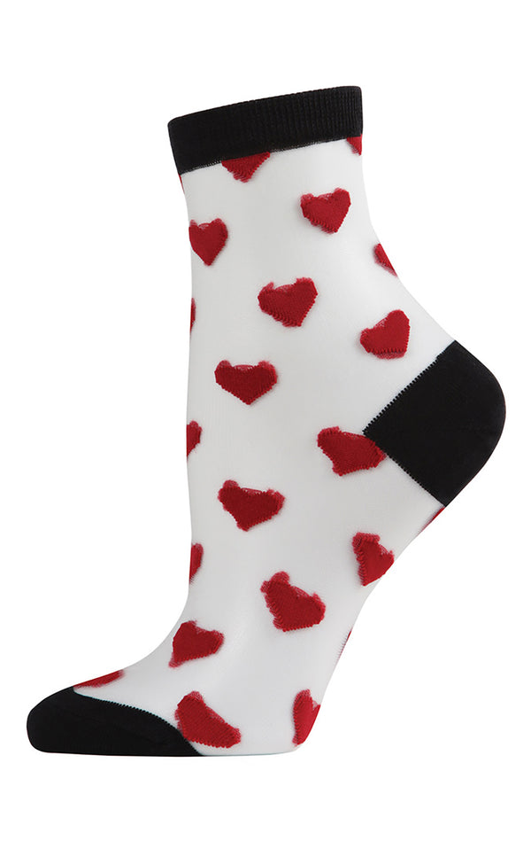 HEARTS SHEER ANKLE SOCK
