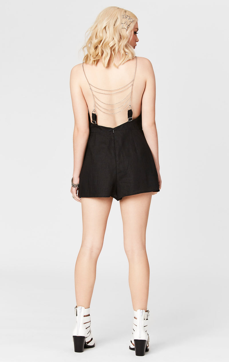 DEEP V CHAIN LADDER FRONT PLAYSUIT