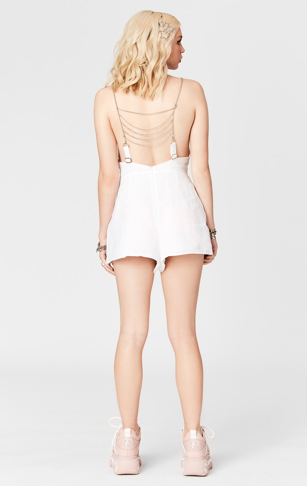 CHAIN LADDER DEEP V LINEN PLAYSUIT