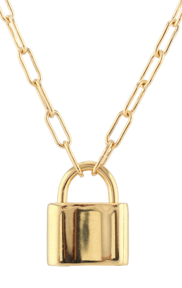 18K GOLD PADLOCK CHARM NECKLACE