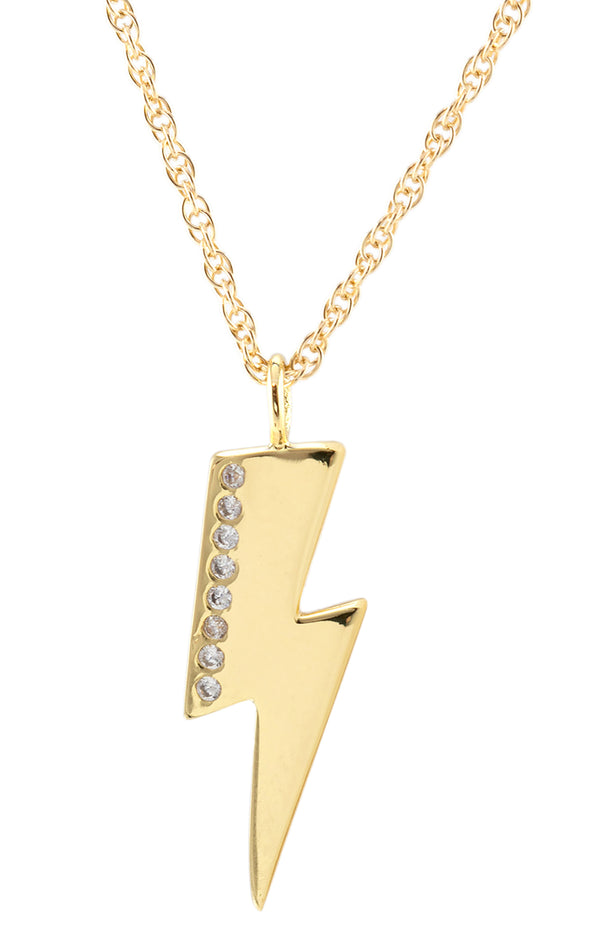 PAVE LIGHTENING BOLT CHARM NECKLACE