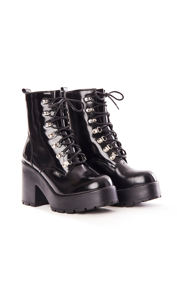 MISSION COMBAT BOOTS WITH RIVETS & CHUNKY PLATFORM