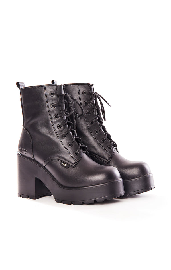 MASCOT LACE UP COMBAT BOOTS WITH CHUNKY PLATFORM