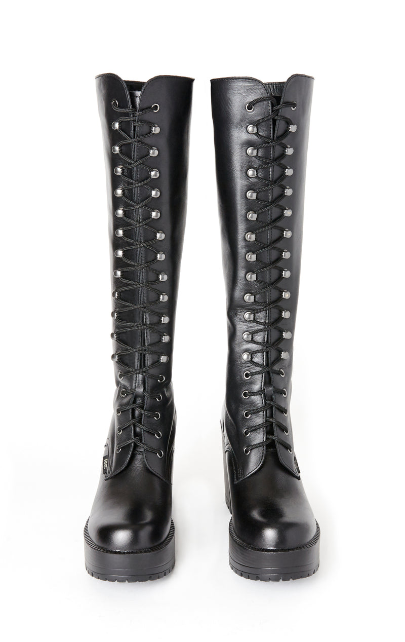 LASH KNEE HIGH LACE UP BOOTS WITH CHUNKY PLATFORM