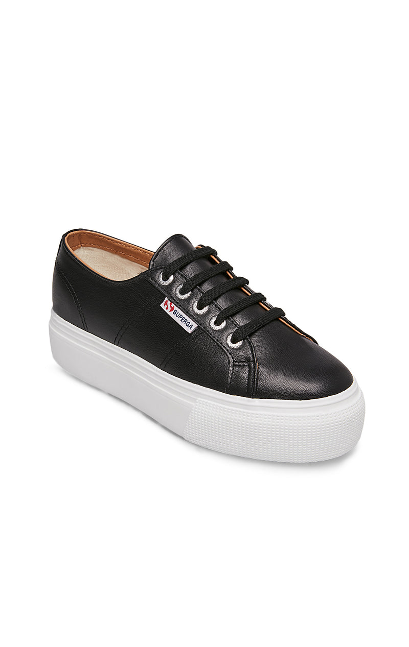 SUPERGA LEATHER PLATFORM SNEAKER ANGLE