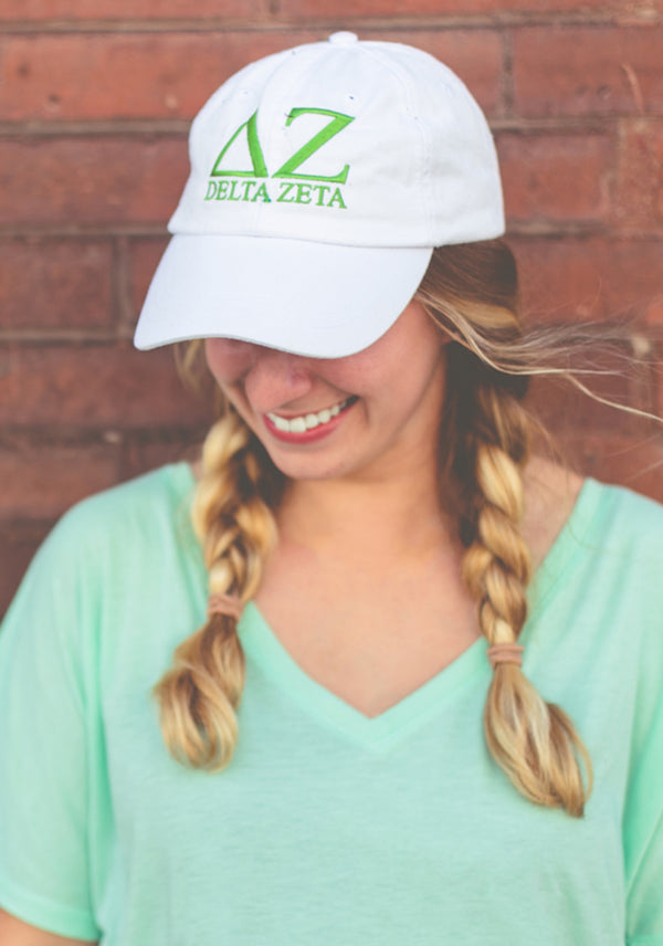 White with Green Embroidered Hat - DZ Dezigns