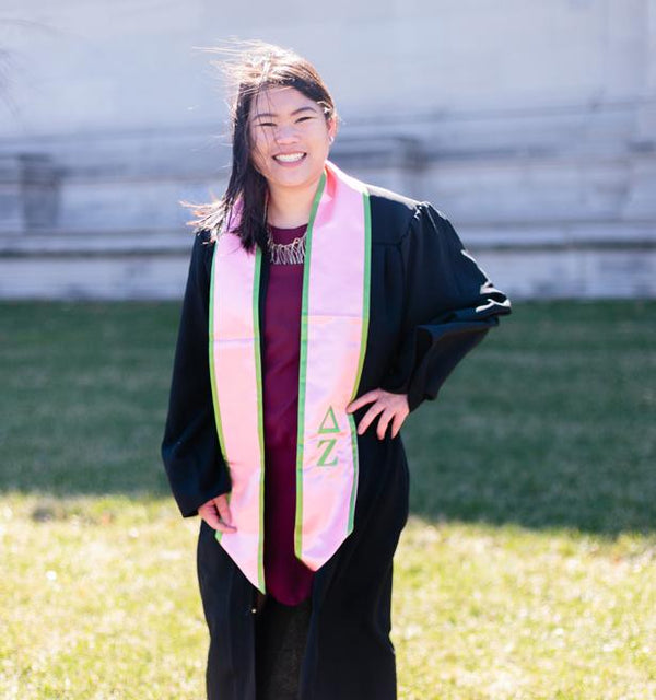 Pink with Green Trim Graduation Stole - DZ Dezigns