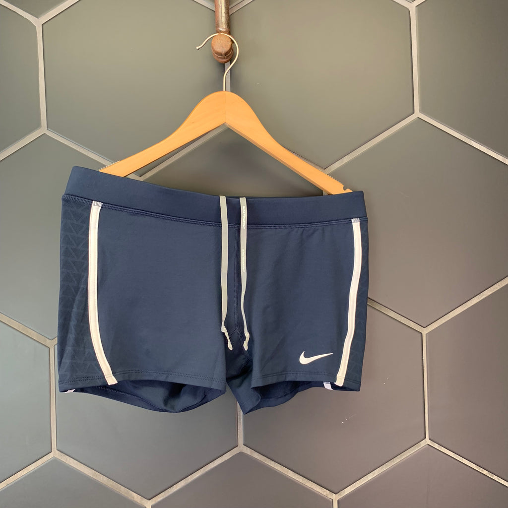 New! Womens Nike Dri-Fit Running Shorts Navy Blue White Size Large