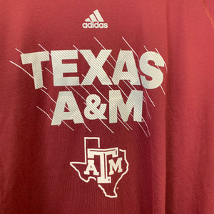 New! Adidas Ultimate Tee Texas A&M NCAA Football Athletic Maroon White T-Shirt Size 2XL