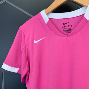 New! Womens Nike Volleyball Dr-Fit Short Sleeve Pink White Shirt Size Medium