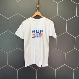 New! Mens Huf Worldwide Japan USA Graphic S/S Streetwear T-Shirt Size Small
