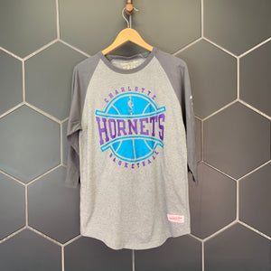New! Mitchell & Ness Charlotte Hornets NBA Raglan T-Shirt 3/4 Sleeve (Multiple Sizes)