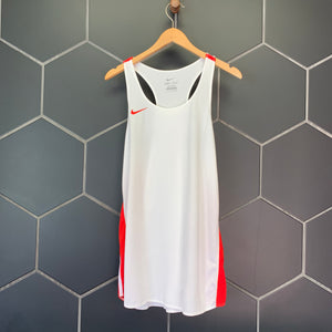 New! Mens Nike Track & Field Athletic Racer Tank Top White Red Size Large