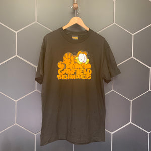 New! Mens The Hundreds Garfield Sitting Script Black Orange S/S Streetwear T-Shirt Size Large