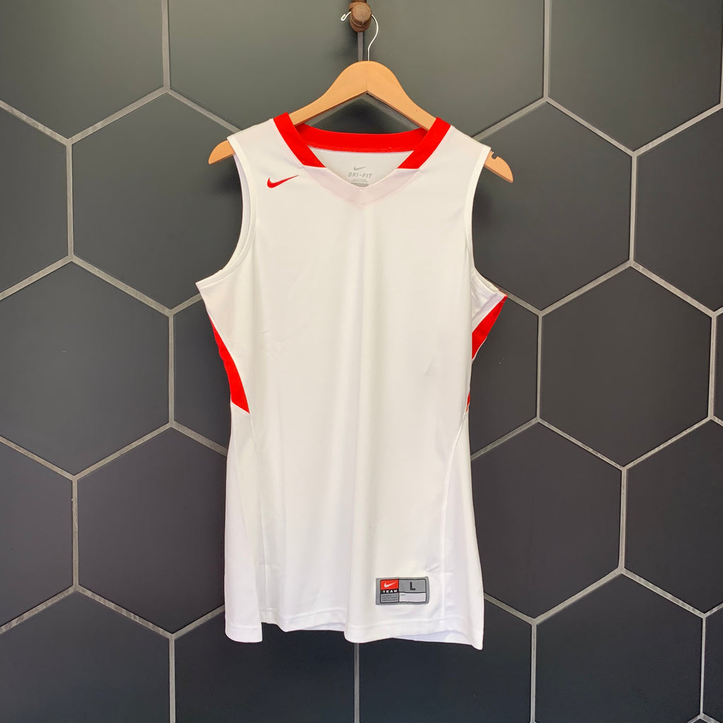 New! Womens Nike Basketball Dri-Fit Team Jersey White Red (Multiple Sizes)