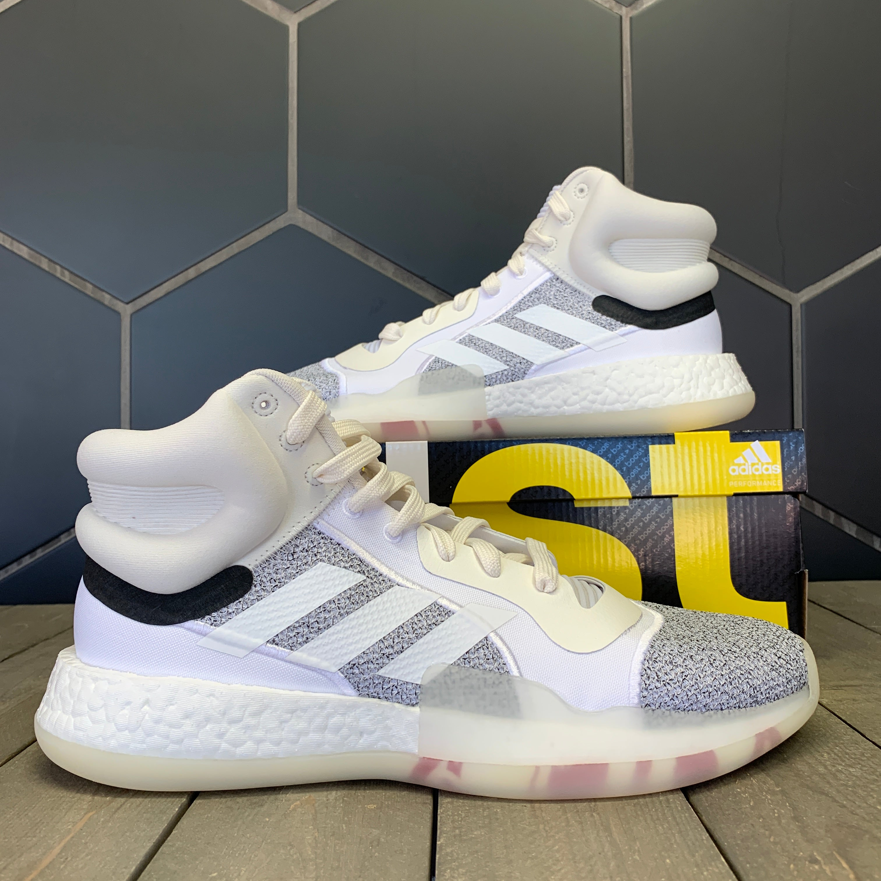 New W/ Box! Adidas Marquee Boost Footwear White Basketball Shoes (Multiple Sizes)