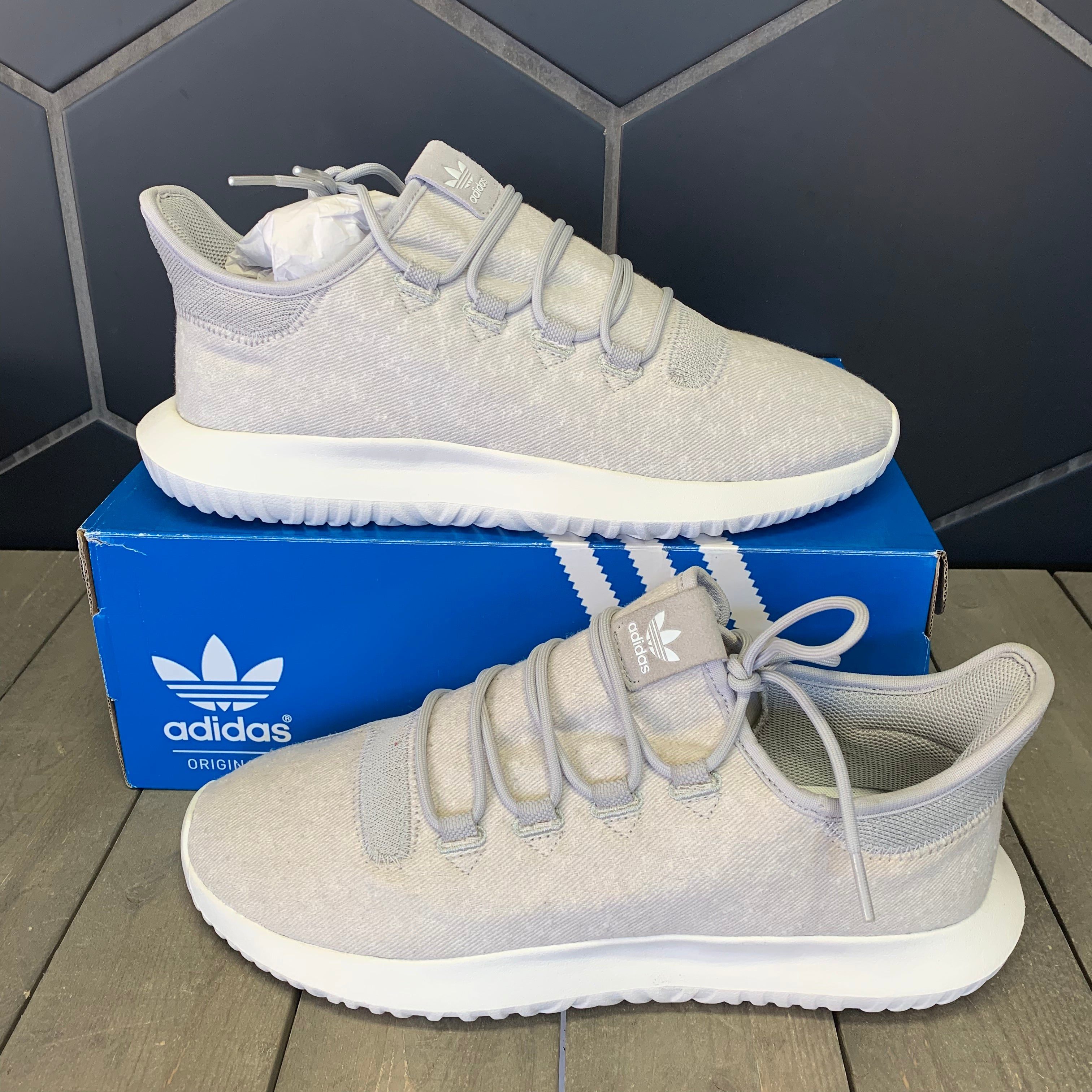 New W/ Box! Adidas Tubular Shadow Grey White Shoe (Multiple Sizes)