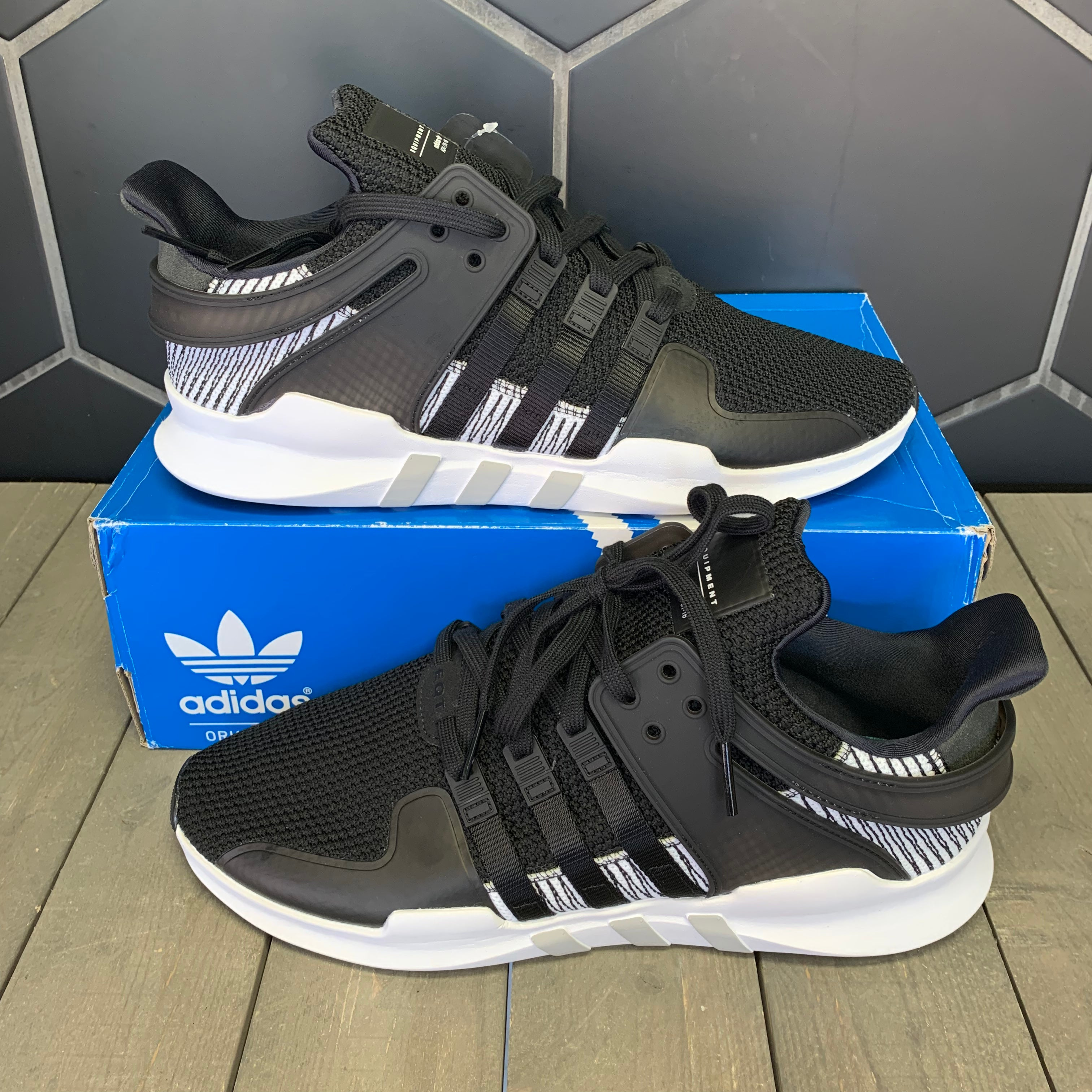 New W/ Box! Adidas EQT Support ADV Black White Shoe Size 13