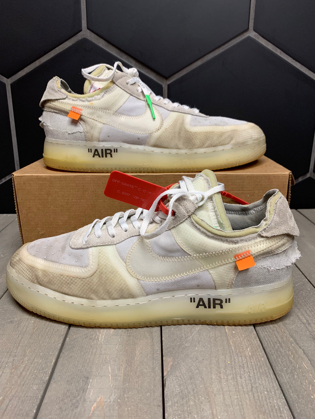 Used W/O Box! Nike x Off White Air Force 1 Low Shoe Size 12