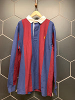 New! Mens Polo Ralph Lauren Iconic Rugby T-Shirt Burgundy Navy L/S Size Extra Large Tall XLT