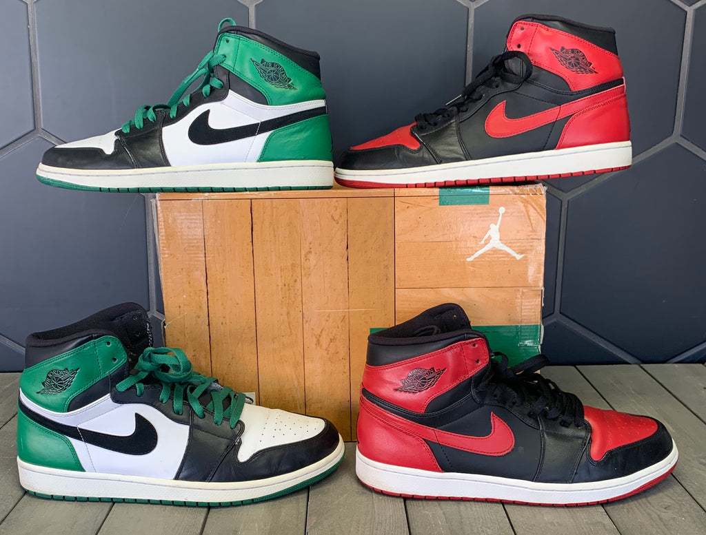 Used W/ Damaged Box! Air Jordan 1 Retro High DMP Pack Bulls Celtics Shoe Size 13