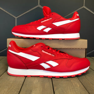New W/O Box! Reebok Classic Leather MU Red White Sneaker (Multiple Sizes)