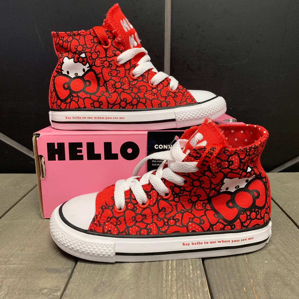 New W/ Box! Infant Converse Chuck Taylor All Star Hello Kitty Red Pink Hi Sneakers (Multiple Sizes)