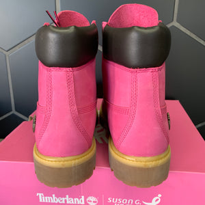 New W/ Box! Mens Timberland x Susan G. Komen 6 Inch Boots Breast Cancer Awareness Pink Size 9.5