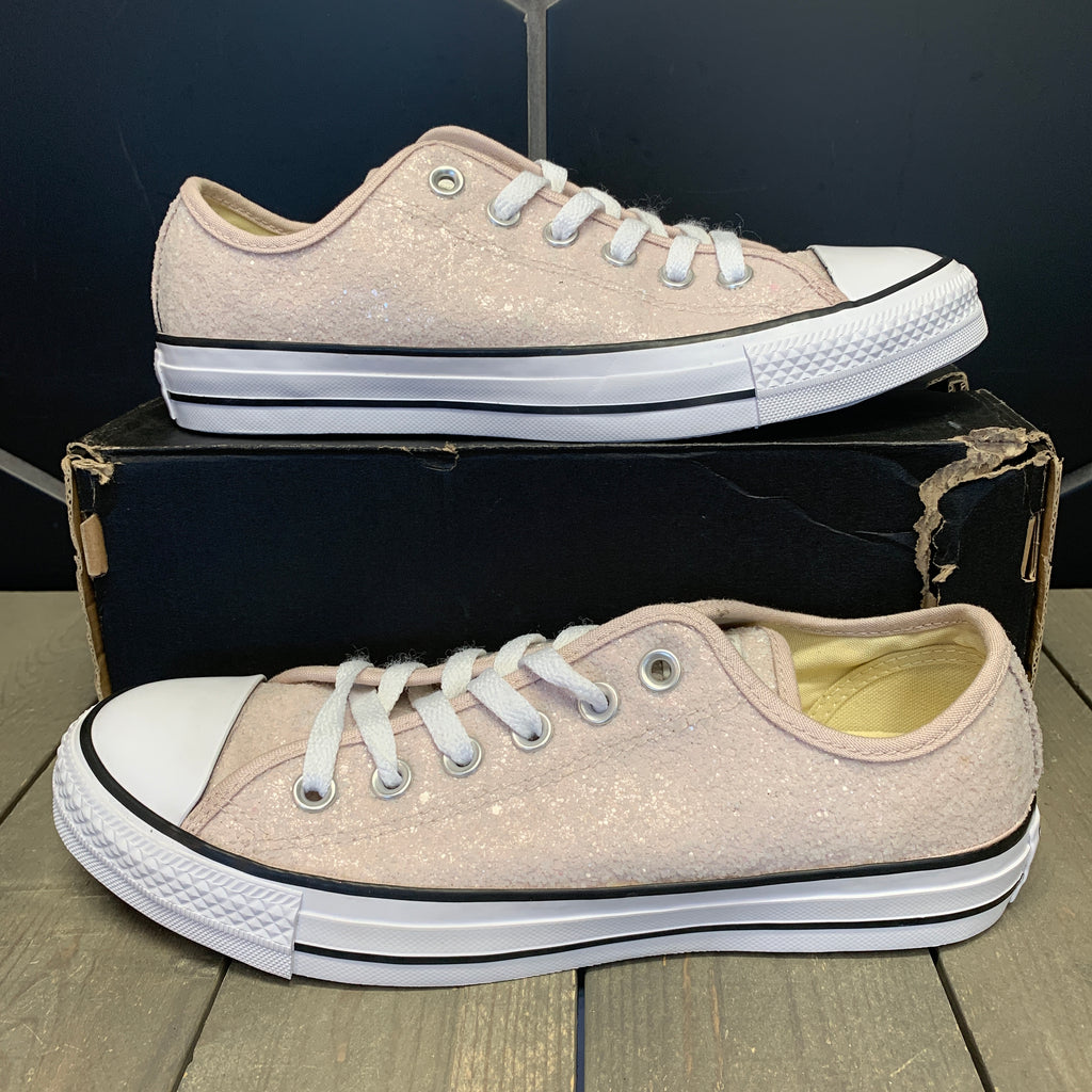 New W/ Damaged Box! Womens Converse Chuck Taylor All Star Low OX Glitter Ivory White Size 8