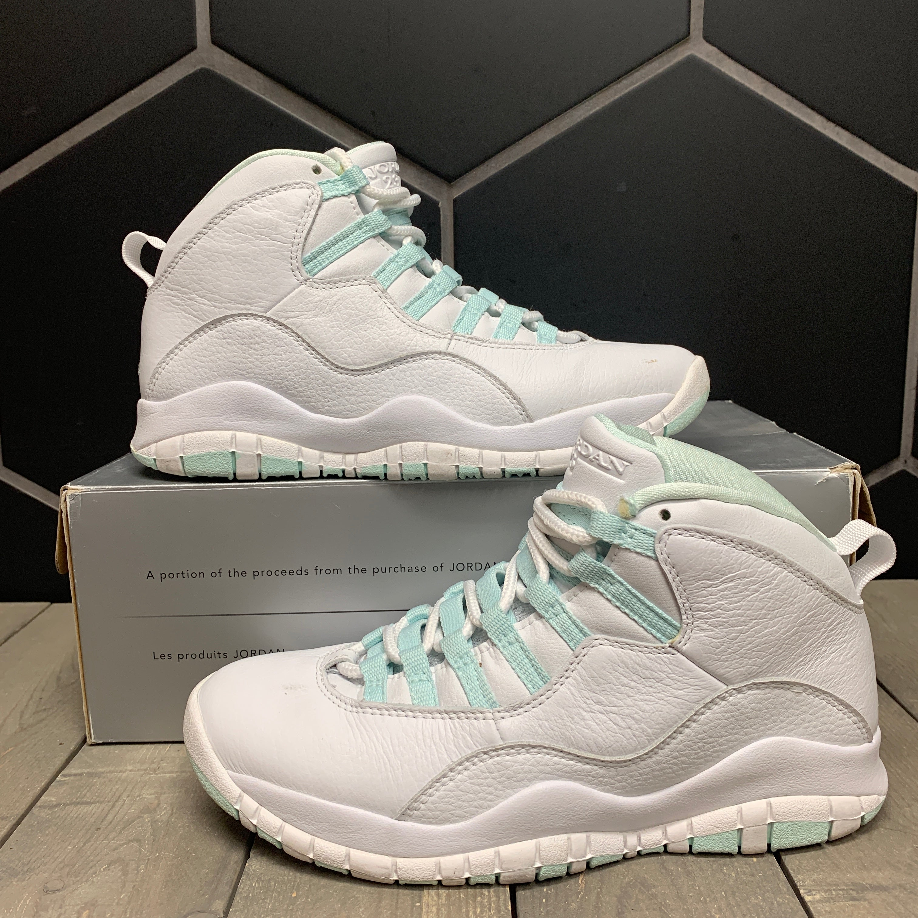 Used W/ Box! Womens Air Jordan 10 Teal Ice White Size 7