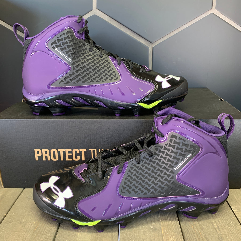 New W/ Box! Under Armour Team Spine Fierce MC Purple Black Cleats Size 12